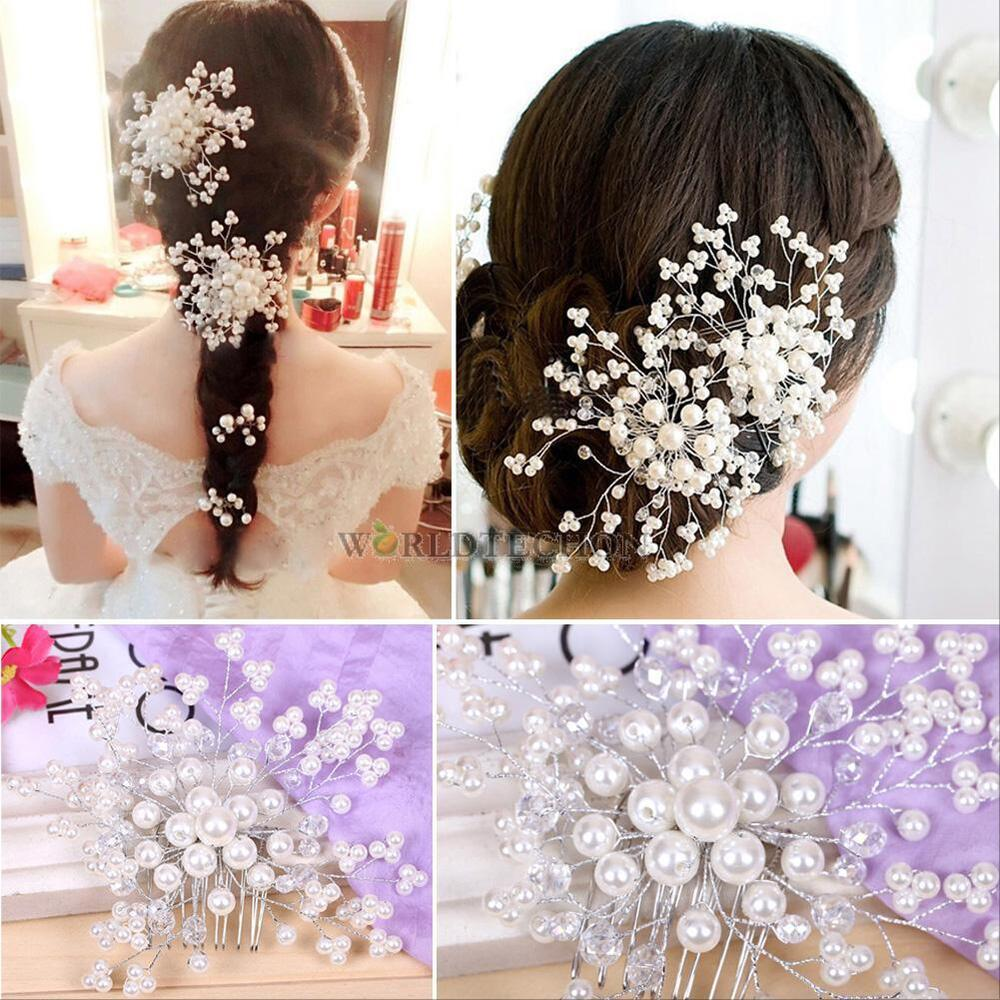 wedding hair flower clips hair comb clip rhinestone flower faux pearl 9686