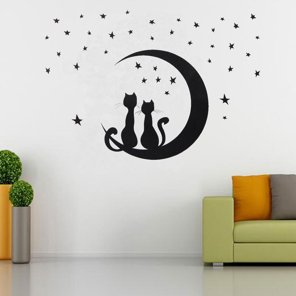 Two cats sitting on moon w stars wall sticker decal home room removable decor ebay - Stars for walls decorating ...
