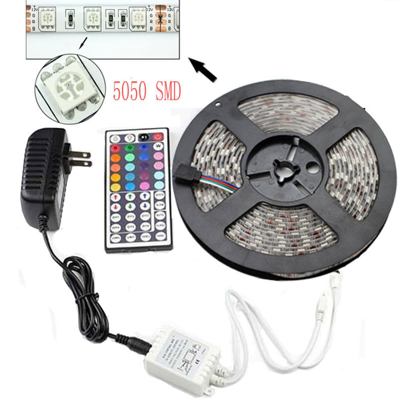 5m smd rgb 5050 waterproof led strip light 300 44 key. Black Bedroom Furniture Sets. Home Design Ideas