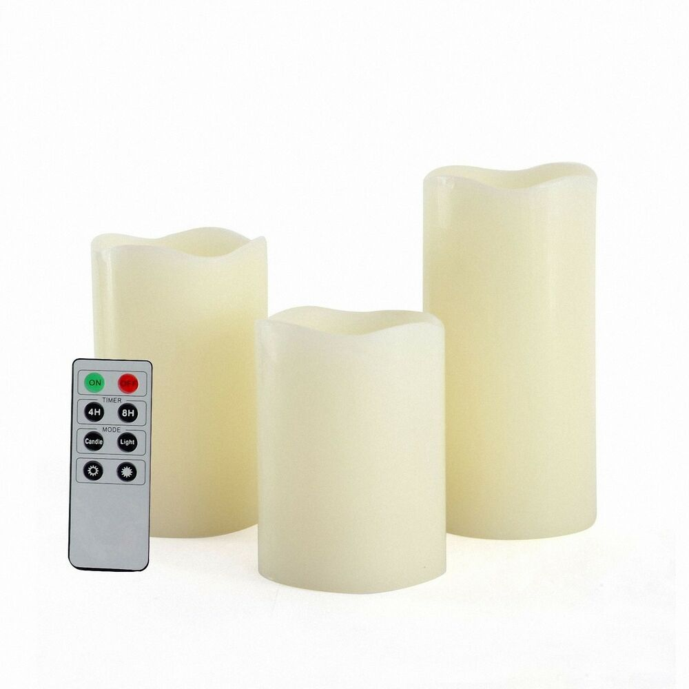 candle choice led flameless candles real wax with remote control timer 3 pc set ebay. Black Bedroom Furniture Sets. Home Design Ideas