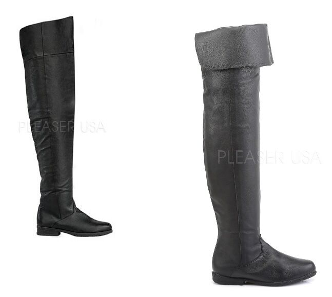maverick black leather thigh high pull on pirate flat boot