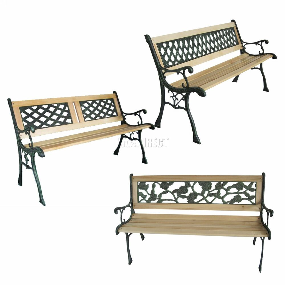 Kms 3 seater outdoor wooden garden bench with cast iron for Outdoor furniture 3 seater
