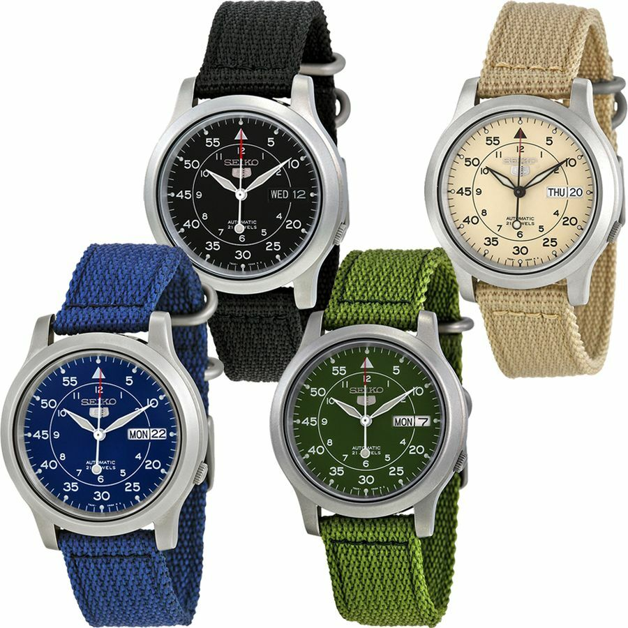 seiko 5 canvas automatic stainless steel mens