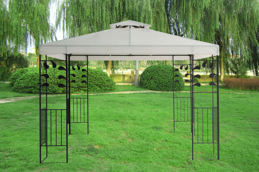 3x3m metal gazebo pavilion marquee canopy sun shade for Metal sun shade structures