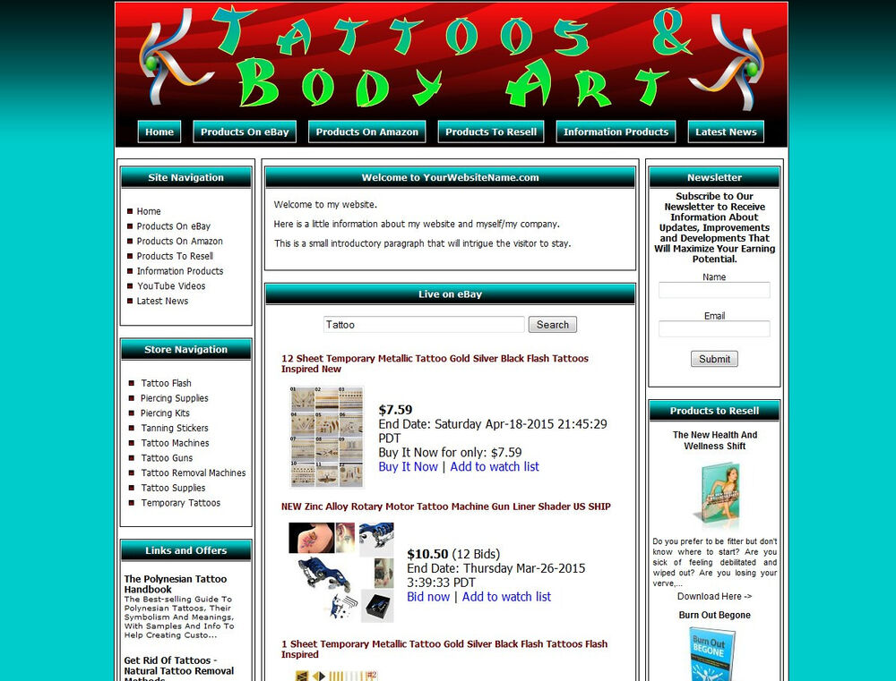 Tattoo supplies shop website busniess for sale amazon for Tattoo nightmares shop website