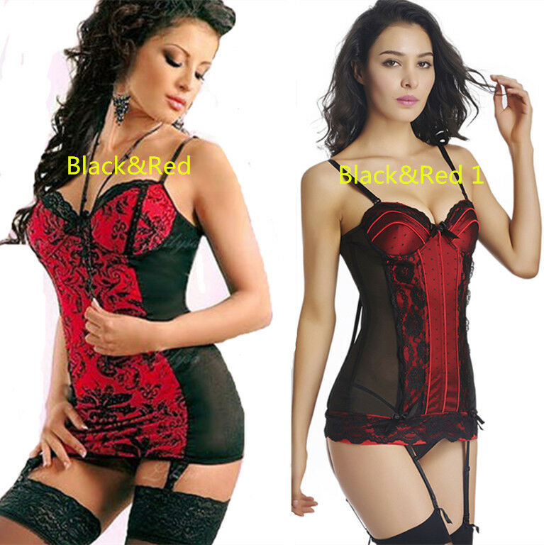 Corselette With Garters: Womens Sexy Red&Black Lace Basques CORSET LINGERIE With