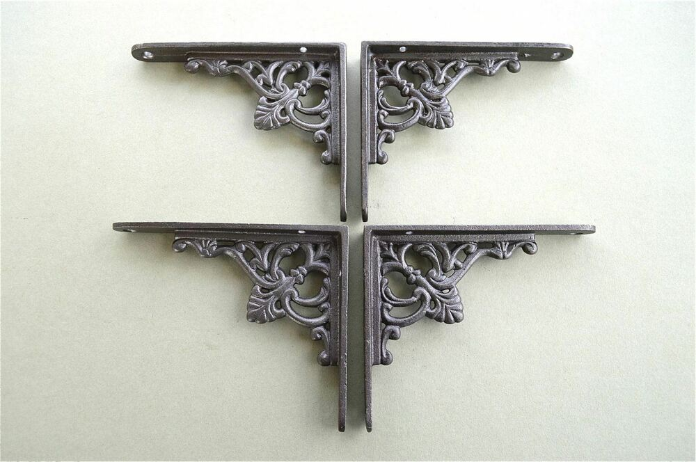2 PAIRS OF SMALL REGENCY ANTIQUE STYLE SHELF BRACKETS IRON