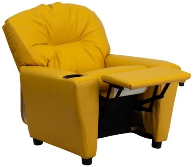 Flash Furniture Contemporary Yellow Vinyl Kids Recliner W