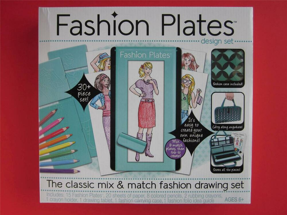 Fashion plates design set clothing designer drawing vtg repro case new