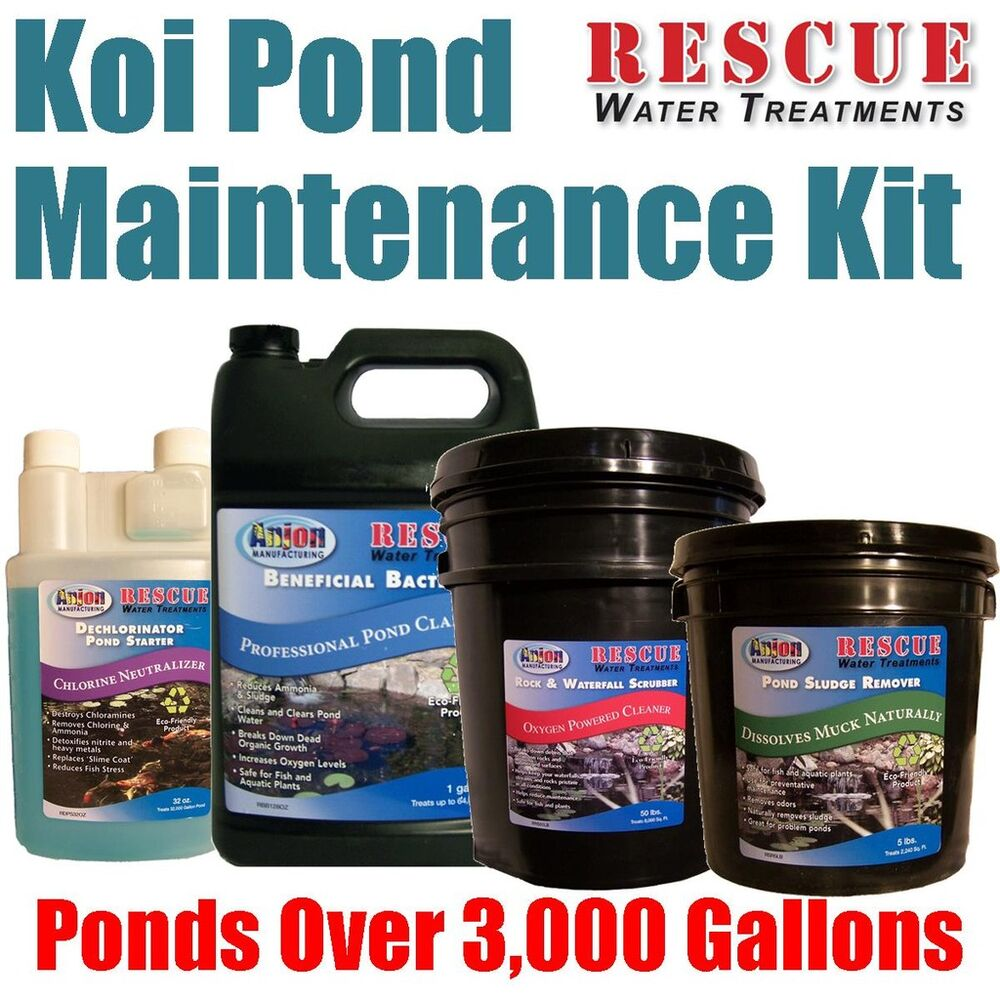 Koi pond water treatment maintenance kit for 3 000 gallon for Koi pond maintenance service