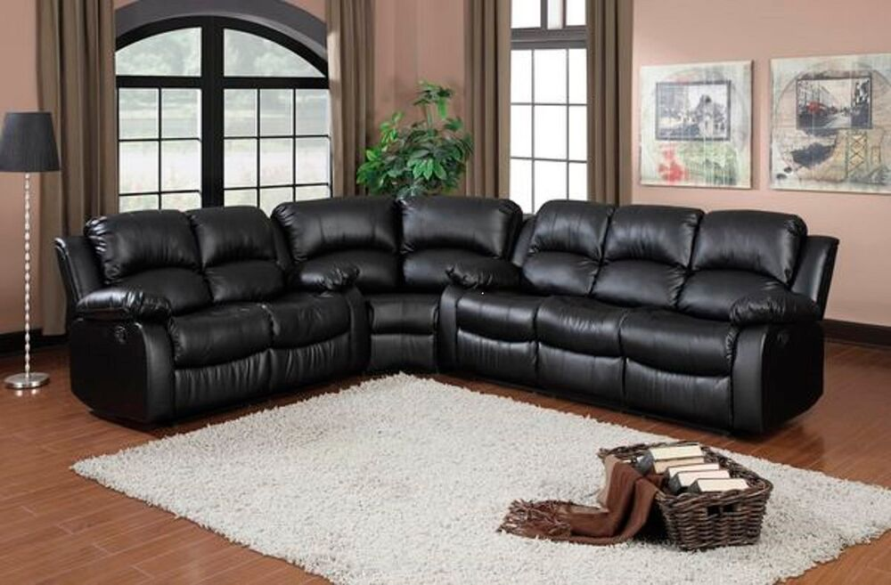Black Bonded Leather Reclining Sofa 4 Four Recliner