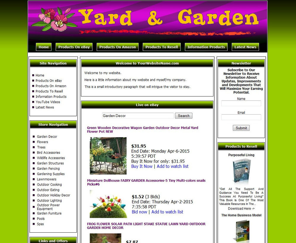 Home yard garden established make money affiliate online for Garden maker online