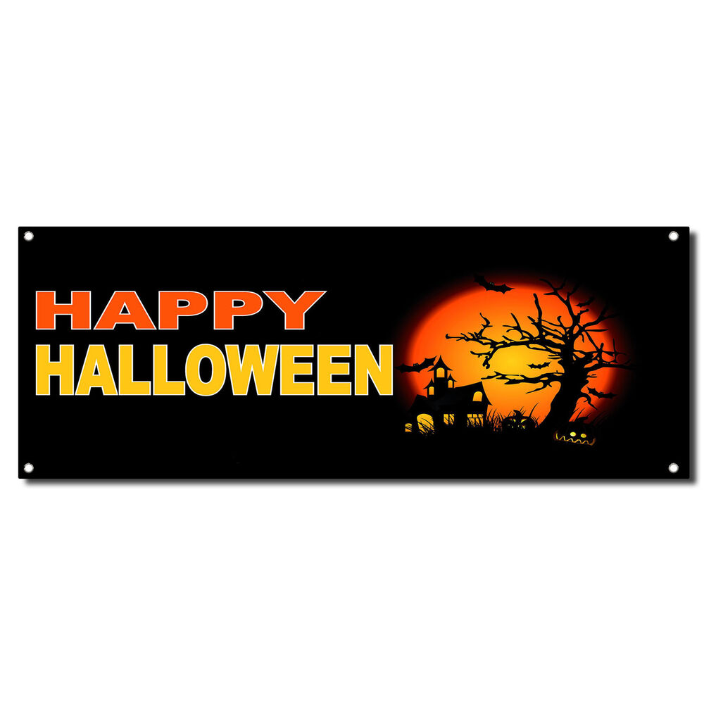 Happy Halloween Scary Haunted House Vinyl Banner Sign W