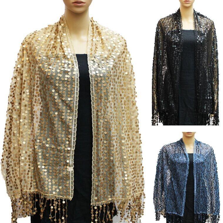 wedding sequin sheer wrap shawl shiny evening glitter