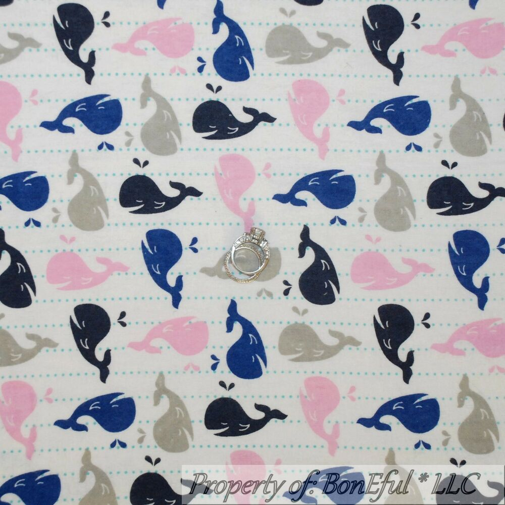 Boneful fabric fq cotton quilt flannel white pink navy for Whale fabric