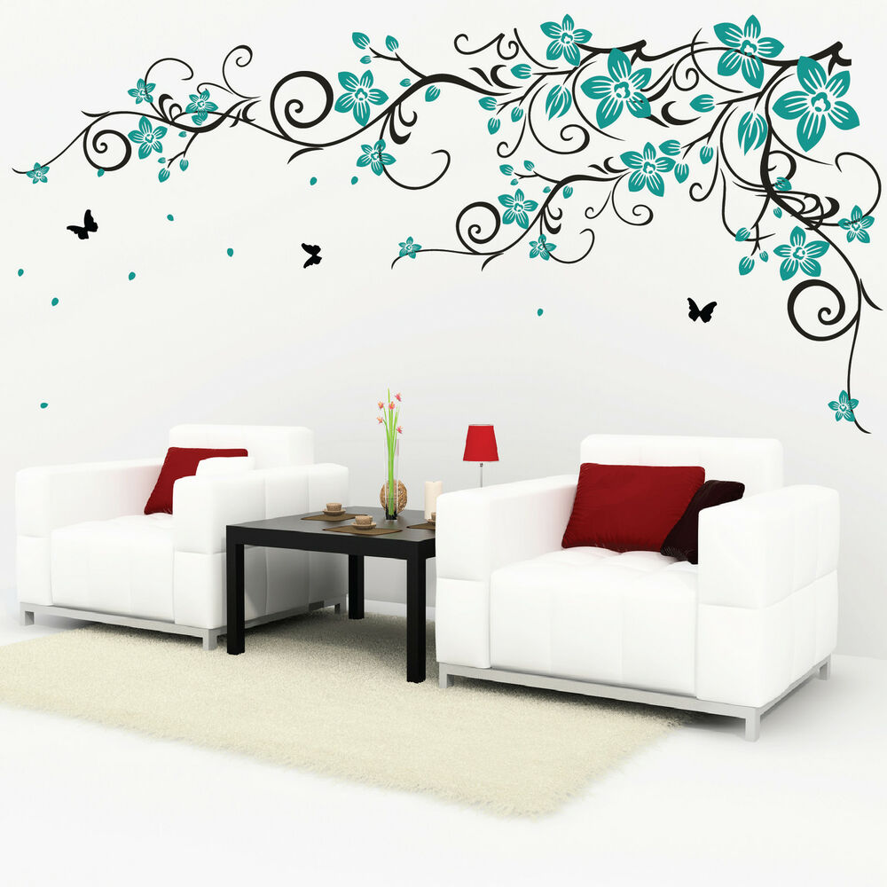 butterfly vine flower vinyl wall art stickers 078 ebay. Black Bedroom Furniture Sets. Home Design Ideas