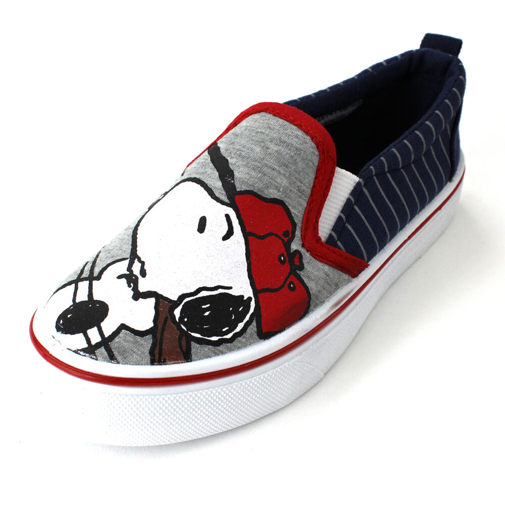 Peanuts Snoopy Boys Navy Canvas Sneakers Shoes Pes