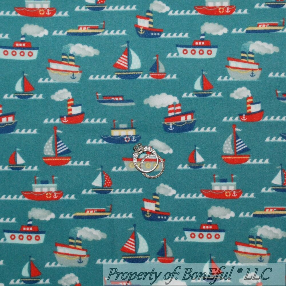 Boneful fabric fq flannel cotton quilt blue red white sail for Boy quilt fabric
