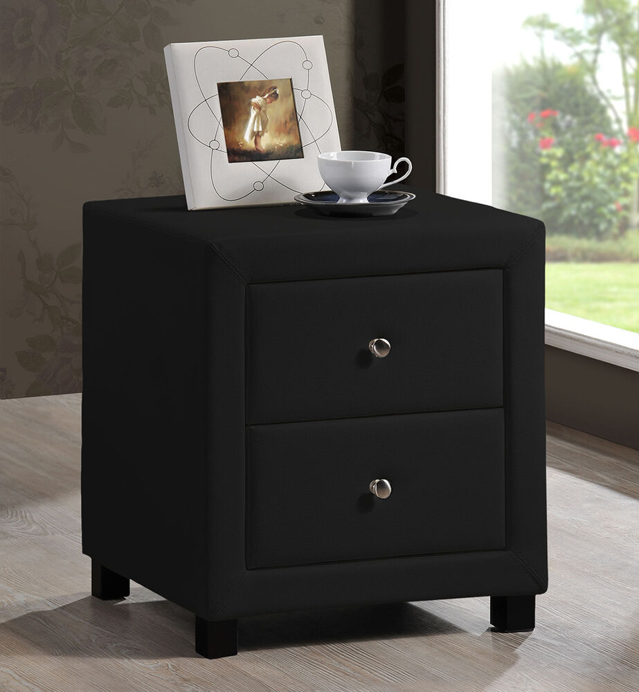 New Stylish Chelsea Black Faux Leather 2 Drawer Bedside