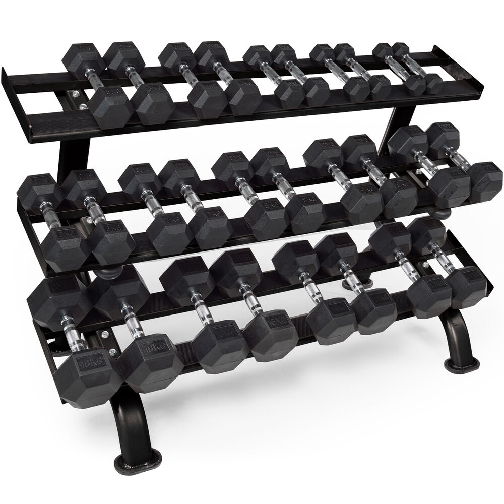 Rubber Dumbbell Set: Marcy 230kg Rubber Dumbbell Set Hex 1-18kg 14 Pairs & Gym