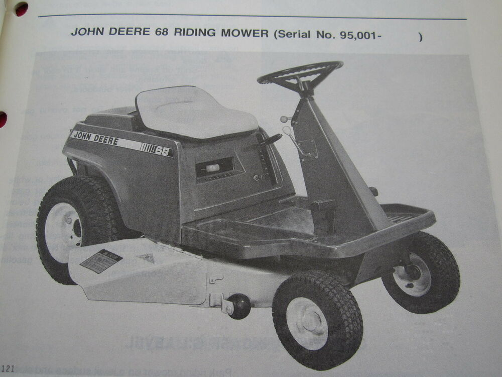 Vintage Original John Deere 68 Riding Lawn Mower Operators border=