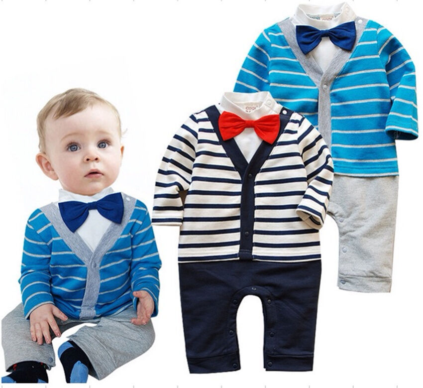 Baby Boy Stripes Long Sleeve Gentleman Romper Outfit