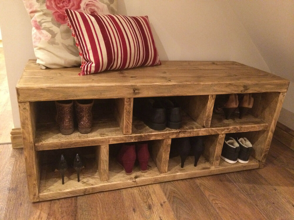 Handmade Solid Reclaimed Hall Shoe Bench Shoe Rack Storage Seat Ebay