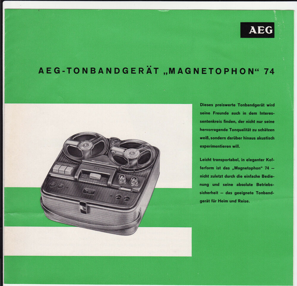 alter prospekt aeg um 1960 tonbandger t magnetophon 74 mit zubeh rliste 4619 ebay. Black Bedroom Furniture Sets. Home Design Ideas