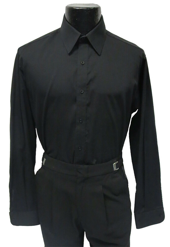 Mens Black Tuxedo Dress Shirt Laydown Collar Prom Size