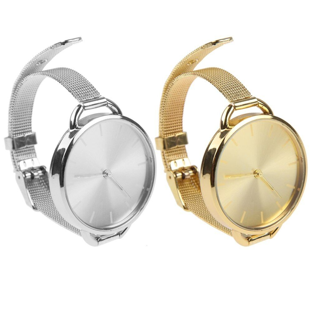 Women Gold Silver Metal Mesh Stainless Steel Band Dial ...