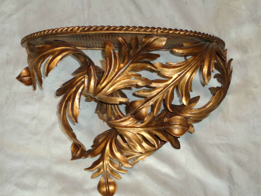VINTAGE ITALIAN ROCOCO GOLD GILT ACANTHUS LEAVES METAL