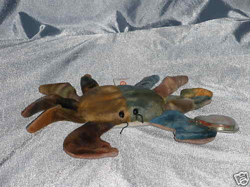 1996 ty beanie baby claude the crab  born sept  3 1996   7 1  2 inches