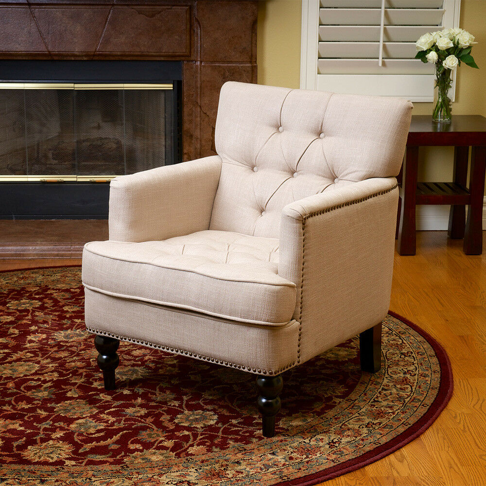 Elegant design tufted fabric upholstered arm chair w for Chair cloth design