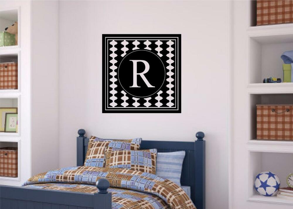 Custom personalized monogram vinyl decal wall decor for Teen wall decor
