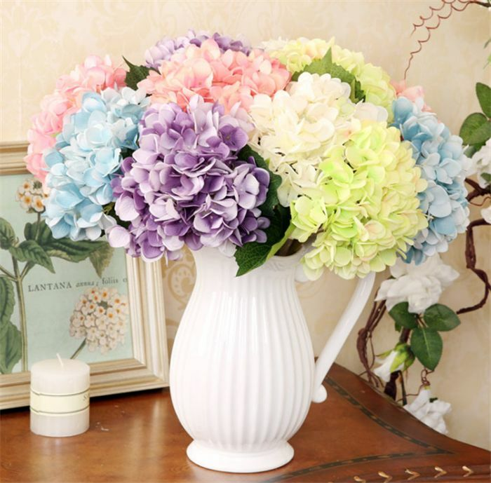 silk wedding bouquets artificial hydrangea silk flowers bouquet wedding 7418