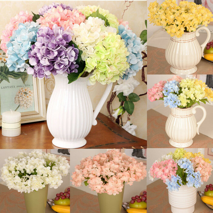 Artificial hydrangea bouquet silk flowers leaf wedding for Artificial flowers for home decoration online