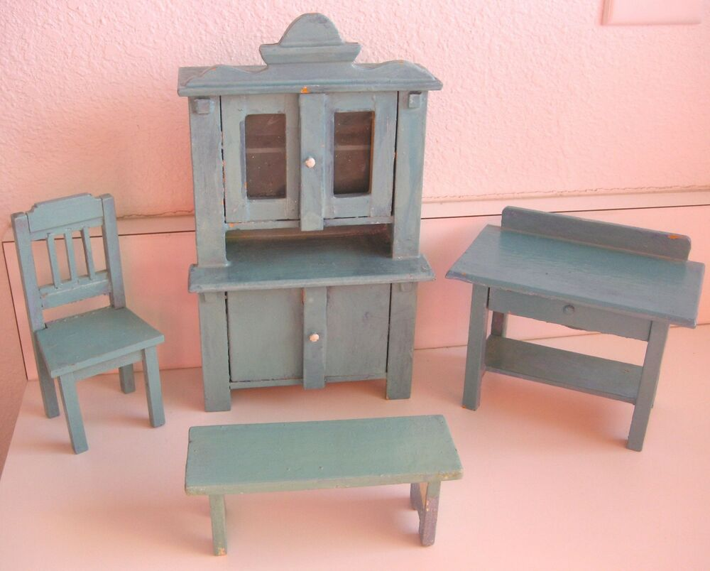 Antique german kitchen wood furniture set dollhouse miniature vignette ebay Dollhouse wooden furniture