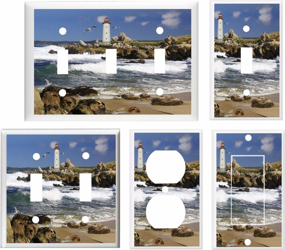Lighthouse seagulls beach sandles k3 light switch cover for Lighthouse switch plates