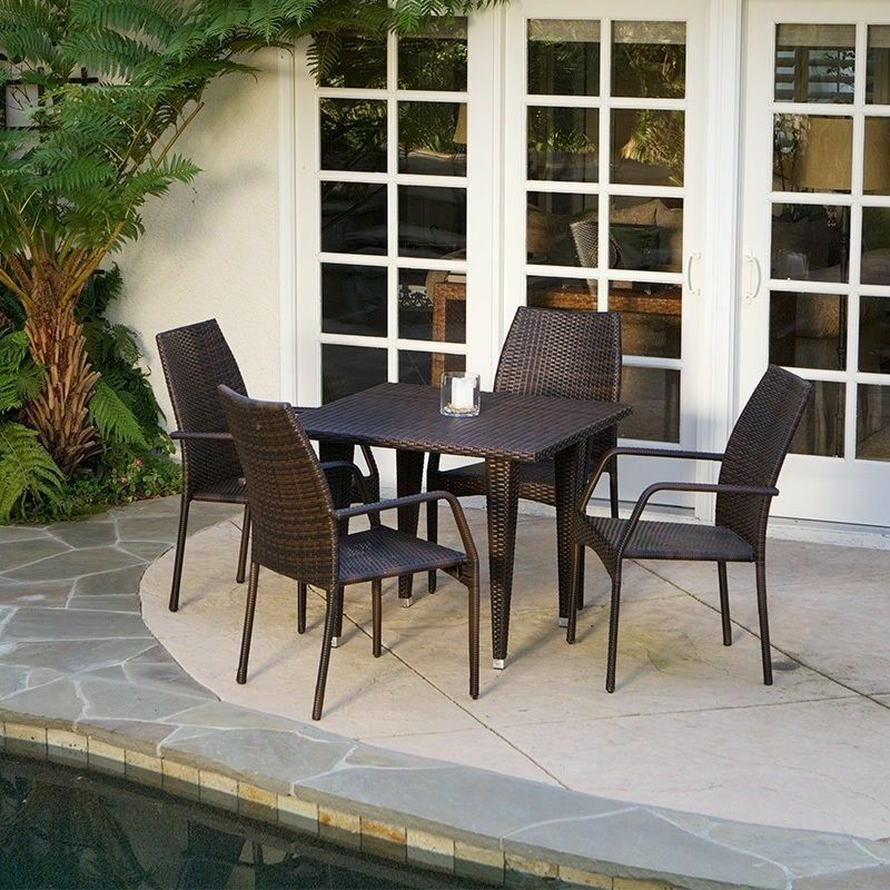 Outdoor patio furniture 5pcs brown all weather wicker for All weather garden furniture