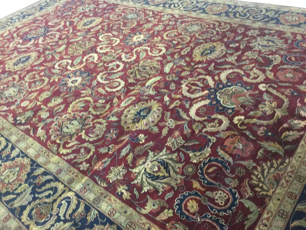 12 X 18 Red Navy Blue Agra Persian Oriental Rug Oversized