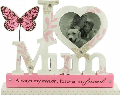 Beautiful Words Pink White Wooden Sign Photo Frame ~ I Love Mum ...