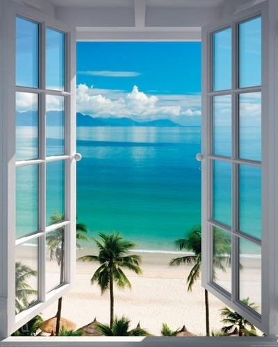 poster fenster zum s dsee strand mit palmen illusion 40 x 50 cm ebay. Black Bedroom Furniture Sets. Home Design Ideas