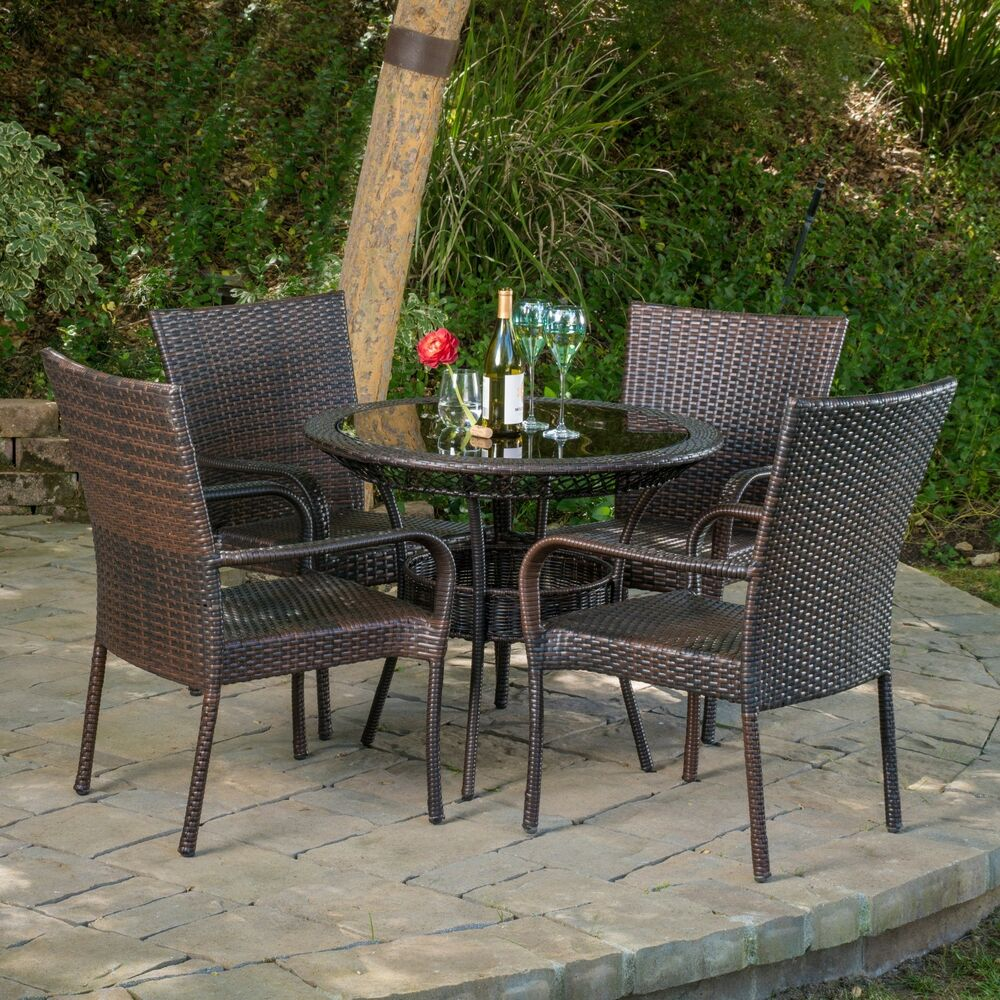 Outdoor Patio Furniture 7pc Multibrown All Weather Wicker: Outdoor Patio 5pc Multibrown All-Weather Wicker Glass