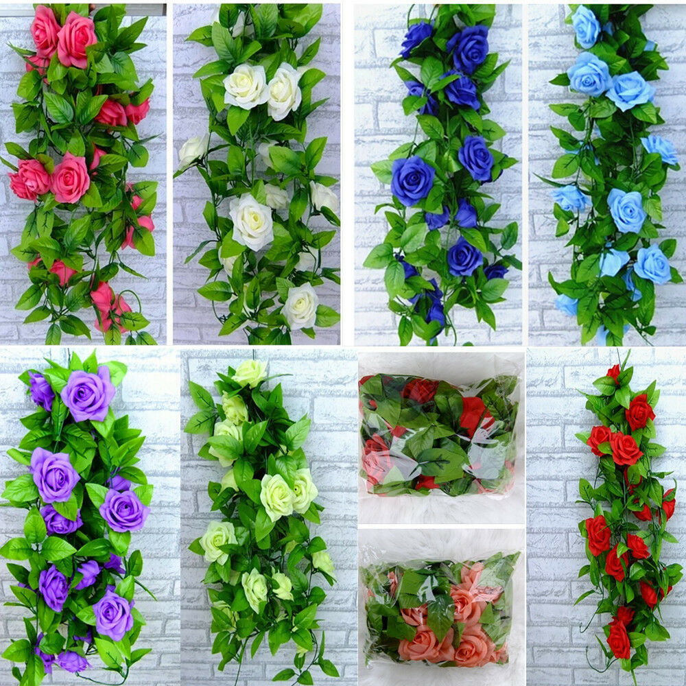 Artificial rose silk flowers ivy vine leaf garland wall for Artificial flowers for home decoration