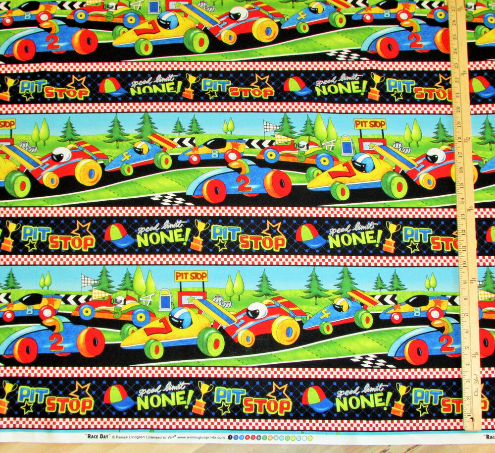 Race Track Fabric : Race day track car pit stop sampler fabric by