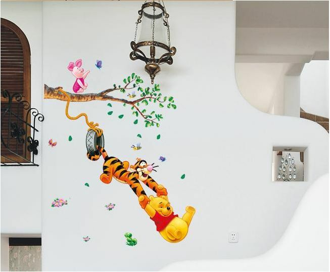 Winnie the pooh wall stickers nursery kids baby room vinyl for Baby room sticker decoration