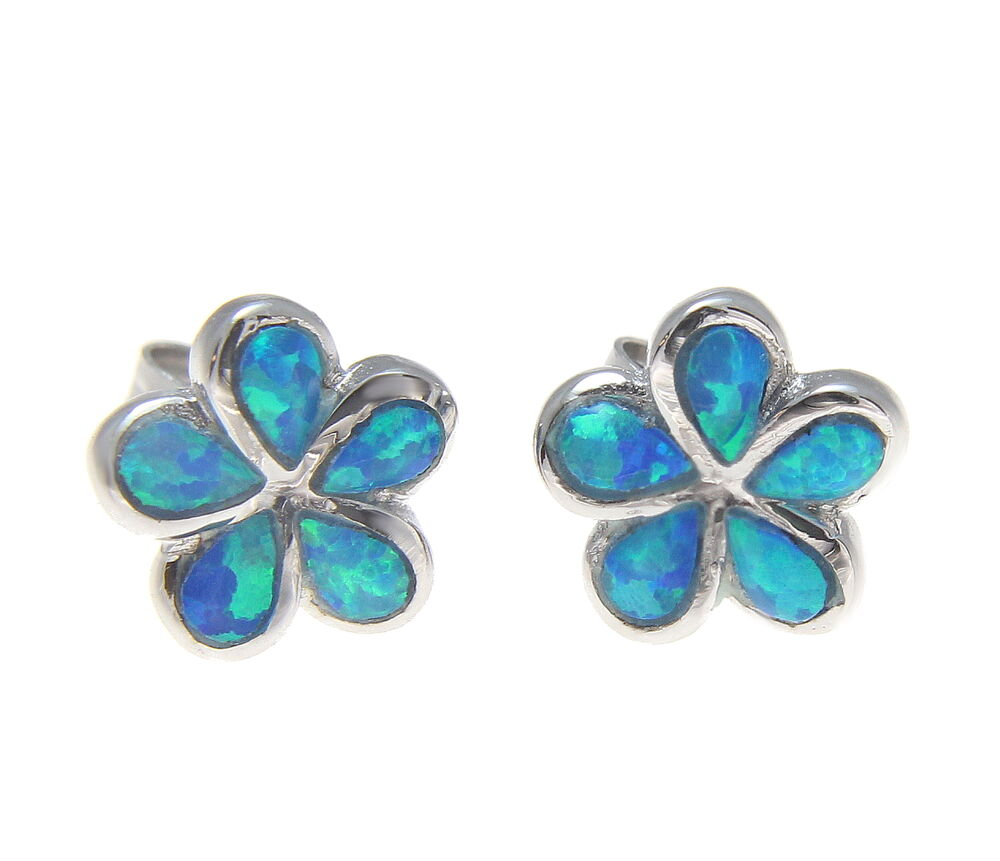 Inlay Opal Sterling Silver 925 Hawaiian Plumeria Flower