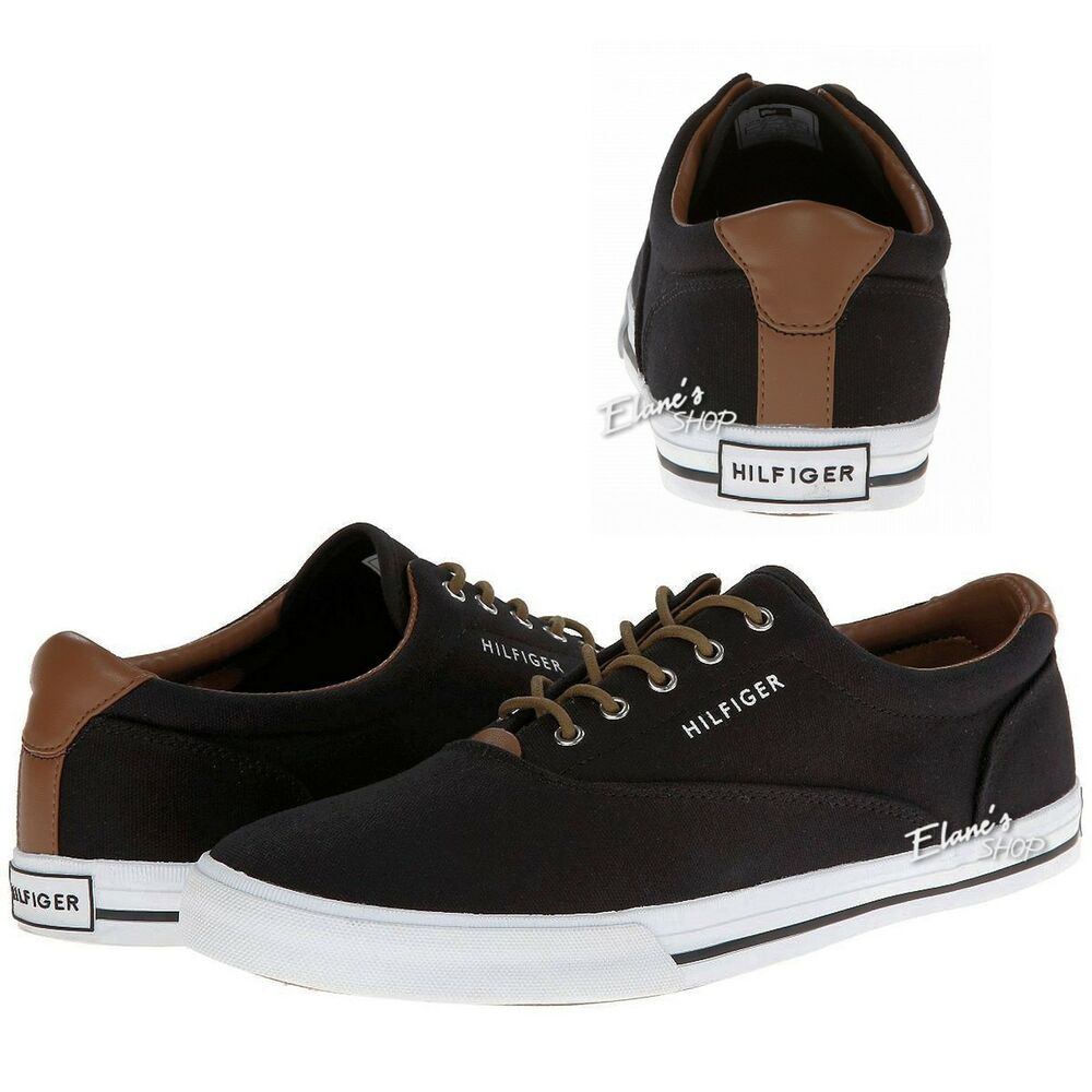 tommy hilfiger phelipo sneakers black canvas mens shoes tantrim new width medium ebay. Black Bedroom Furniture Sets. Home Design Ideas
