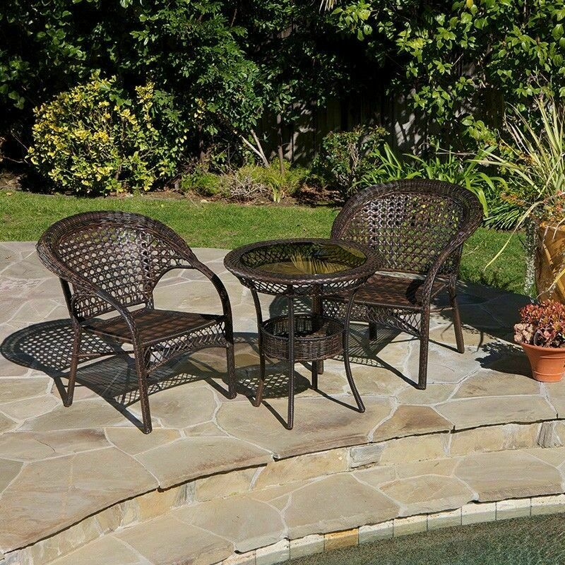 Outdoor Patio Furniture 3pcs All weather Brown Wicker Bistro Set