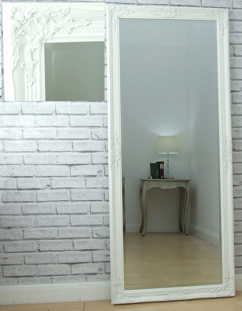 eton full length shabby chic extra large floor white leaner wall mirror 62 x27 ebay. Black Bedroom Furniture Sets. Home Design Ideas